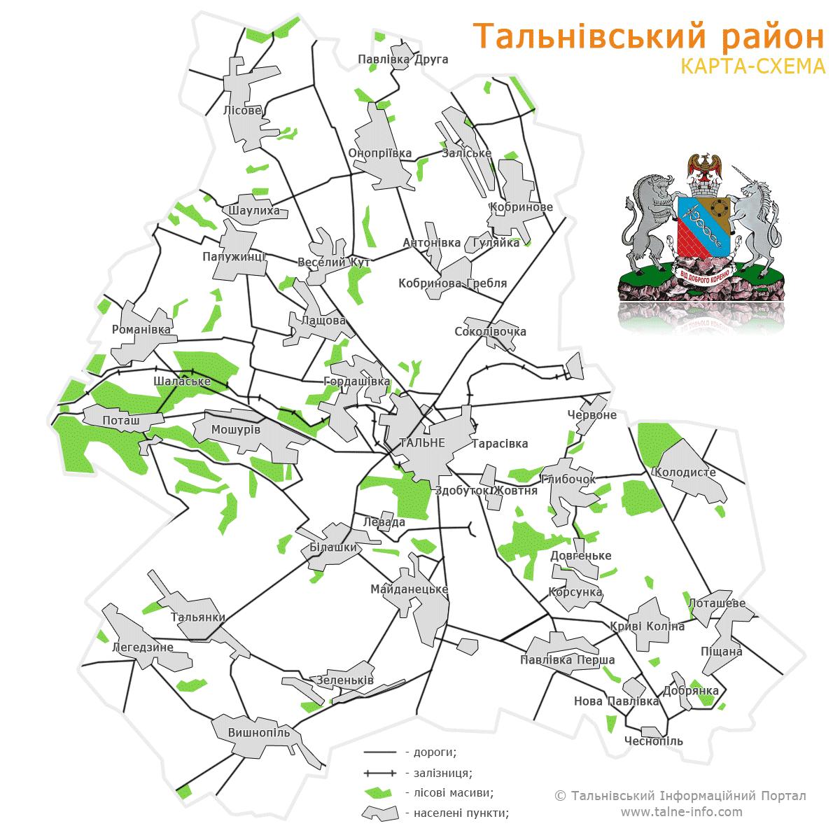Карта Тальновского Района